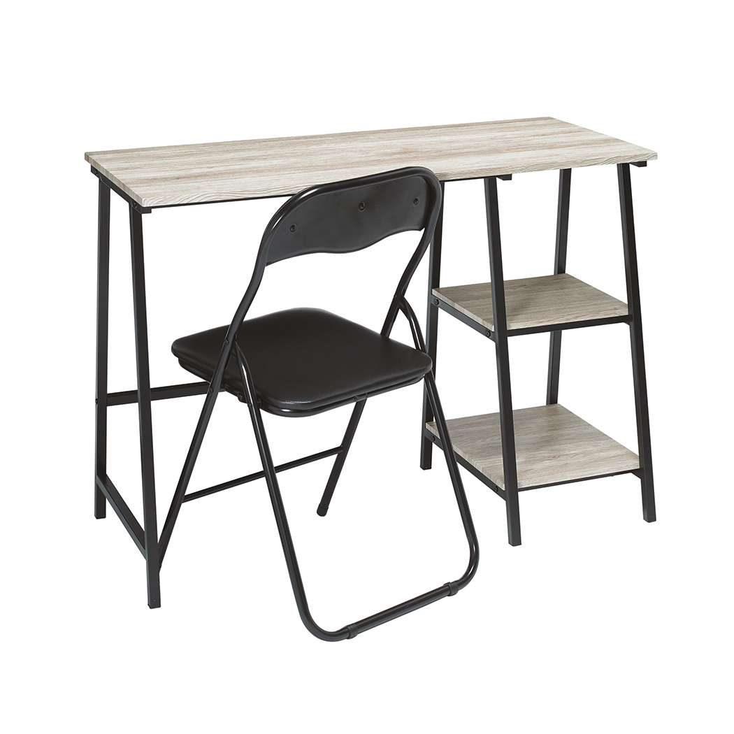 Kevy Desk Black Frame-Oak Top