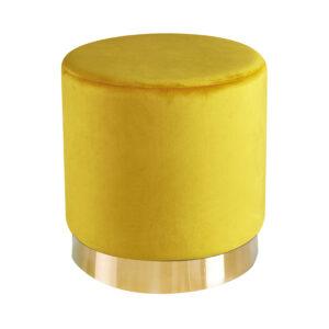 Lourd Pouffe Ochre Yellow Velvet (Pack of 1)