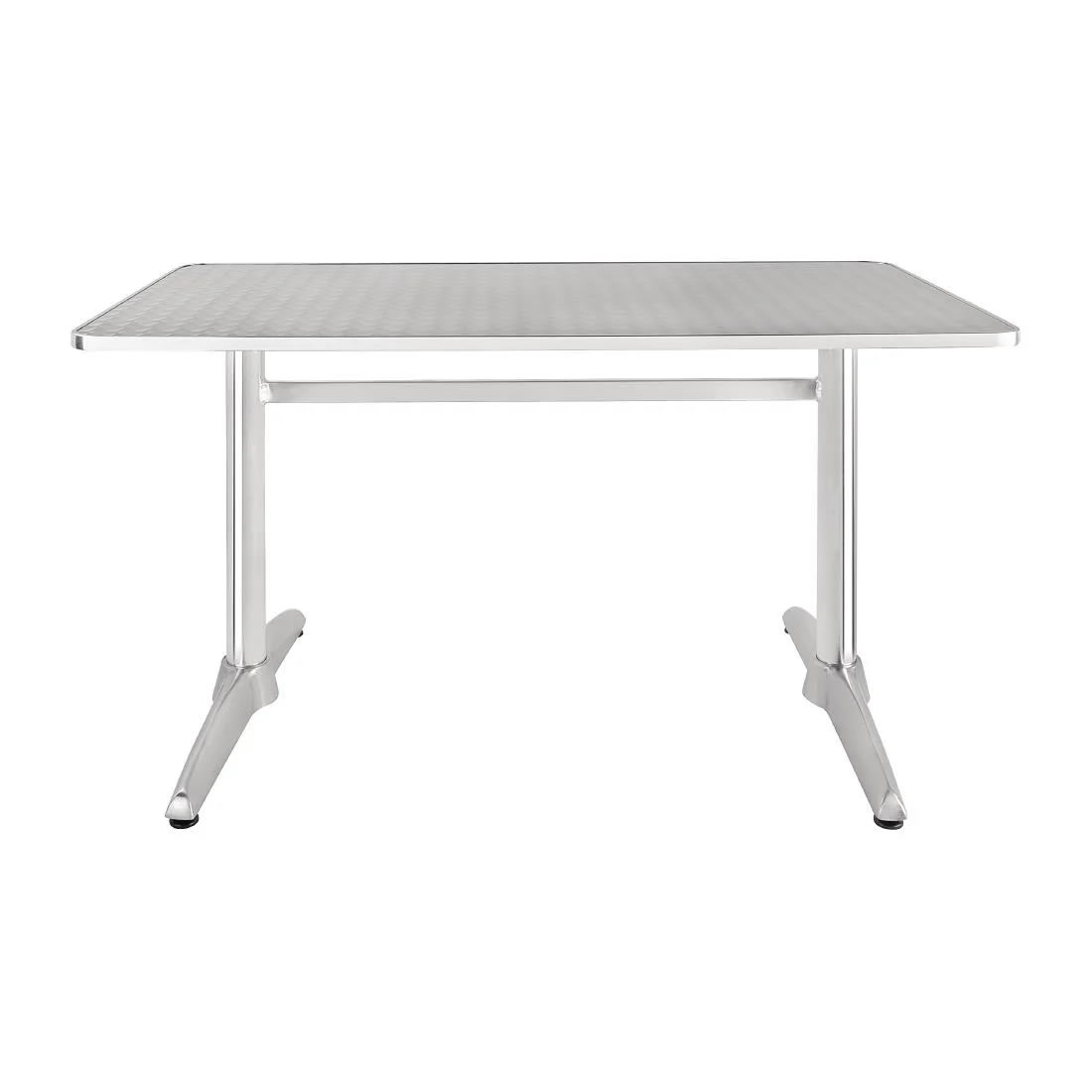 Jerica Stainless Steel Bistro Or Garden Table Double Pedestal