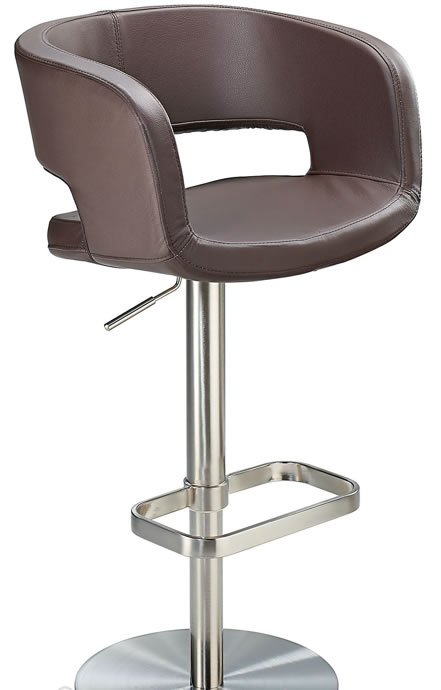 Appius Height Adjustable Brown Bar Stool With Real Leather Bucket Seat And Armrest