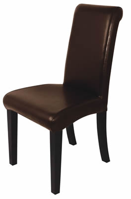 Pair Of Tallop Dark Brown Leather Dining Chair Hardwood Frame Fully Assembled