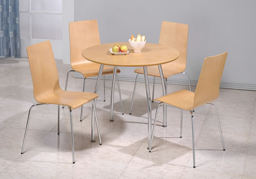 Lingham Wood Round Table 4 Stackable Chairs Beech And Chrome
