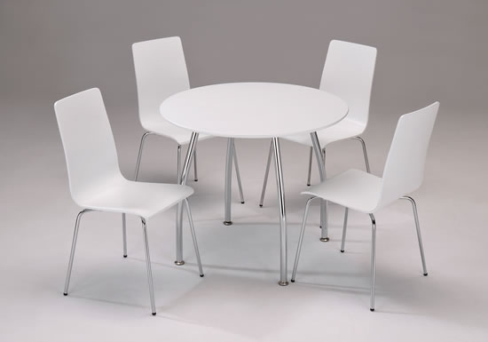 Lingham White Wood Dining Set