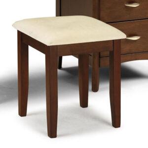 Maynony Dressing Table Stool Dark Wood Frame Padded Seat