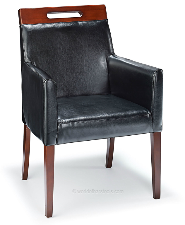 Modernavon Black Bonded Real Leather Lounge Dining Chair Walnut Legs Fully Assembled