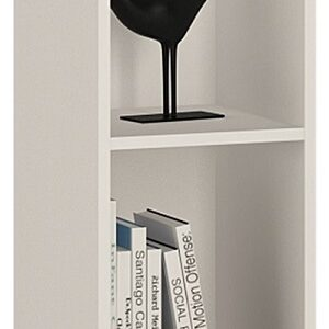 Sheek Danish Made Low Narrow Bookcase - Pearl White - 2 Shelf