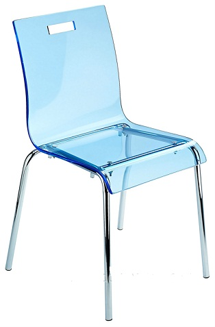 Luminous Blue Acrylic Kitchen Dining Chair Stackable
