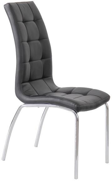4 Luigi Dining Kitchen Chairs - Black Pvc Padded Seat With Chrome Legs