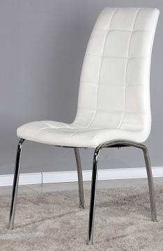 4 Luigi Dining Kitchen Chairs - White Pvc Padded Seat With Chrome Legs