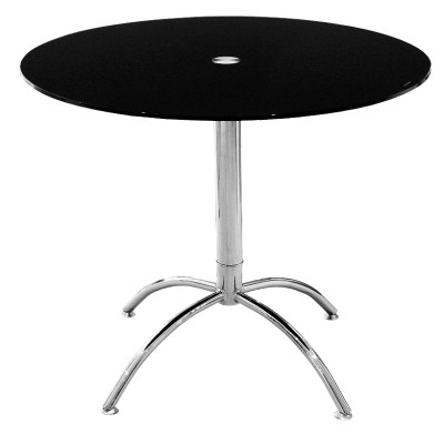 Larry Table Round Black Glass Chrome Frame Kitchen Or Dining Use