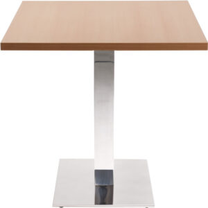Lysandra Square Dining Table With Chrome Square Base - Beech