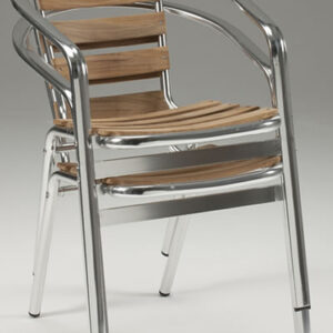 Madrone Stackable Aluminium And Teak Chair - Indoor/Outdoor