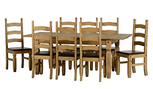 Cazene Large Pine Extending Dining Table Set With 8 Chairs