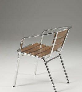 Party Stackable Aluminium Non Wood Chair - Indoor/Outdoor - Teak Effect