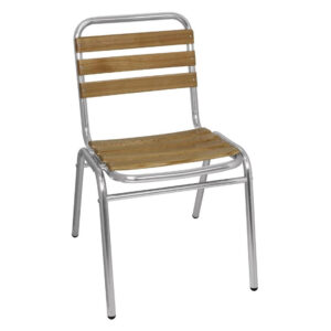 Malaa Aluminium And Ash Wood Stackable Chair - Indoor/Outdoor