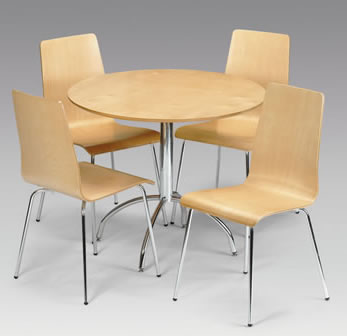 Mardy Beech Kitchen Dining Table And Chairs Set - Maple Veneer Chrome Dining Set