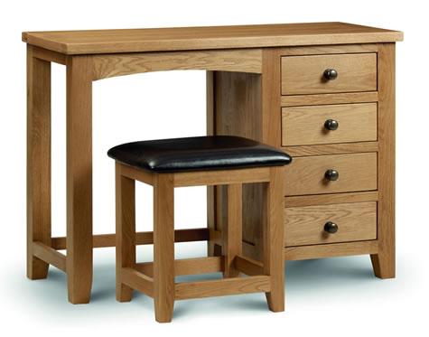 Rachel - Oak - Dressing Table - Single Pedestal - Fully Assembled