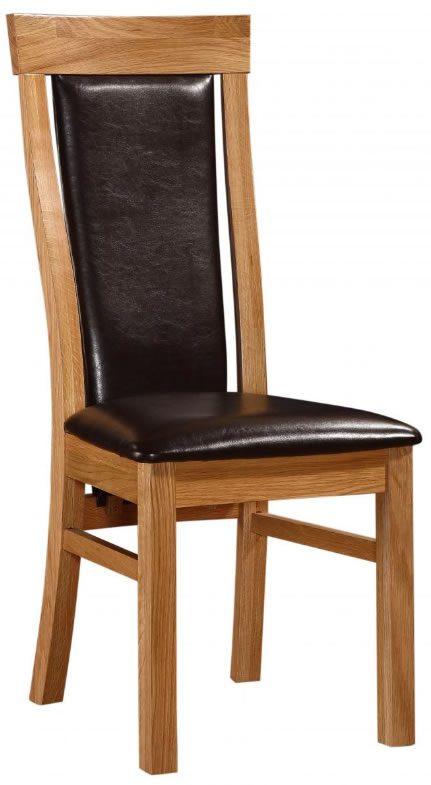 Pair Matt High Back Dining Chair Oak Frame Pvc Padded Seat