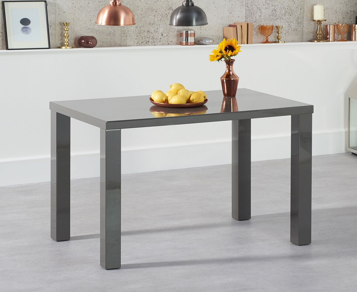 Para Large High Gloss Rectangular Modern Kitchen Dining Table - Dark Grey