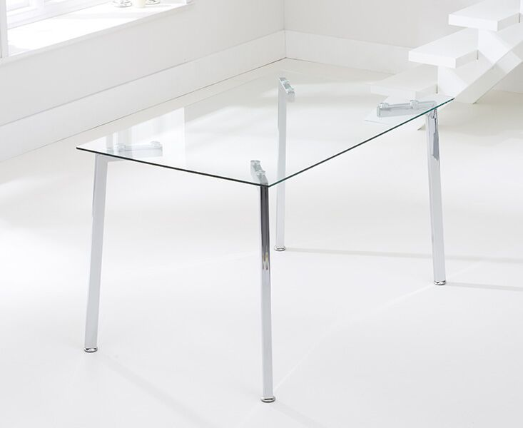 Mune Large Clear Glass Rectangular Modern Kitchen Dining Table