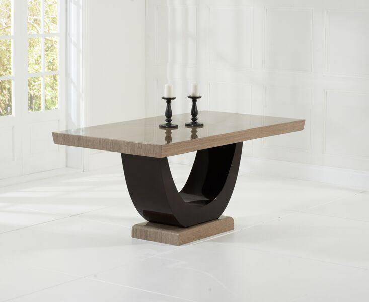 Lavar Large Modern Kitchen Dining Marble Table - Brown Or Cream
