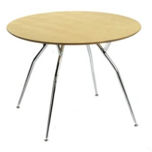 Milli Chrome And Wood Table - Small Round