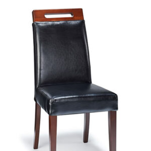 Modernason Quality Modern Dining Chair - Black Real Bonded Leather Fully Assembled