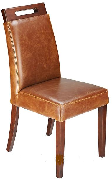 Modernason Tan Aniline Real Leather Dining Chair Padded Seat Walnut Frame Fully Assembled