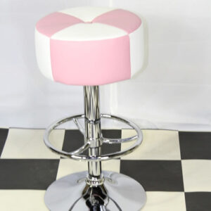 Morani American Diner Retro Style Kitchen Bar Stool Pink And White Padded Seat