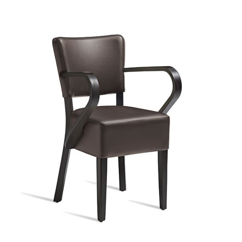 Dorit Solid Beech Arm Chair With Padded Faux Leather Seat - Fully Assembled