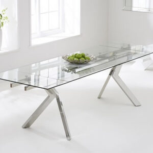 Nava Large Extending Clear Glass Dining Table 200-280Cm Stainless Steel Frame