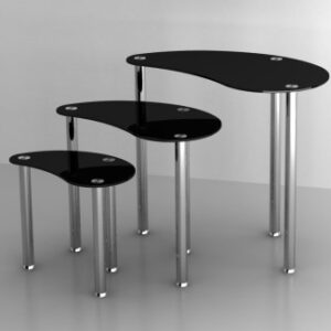 Shirley Nest Of 3 Tables Black Glass Stainless Steel Frame