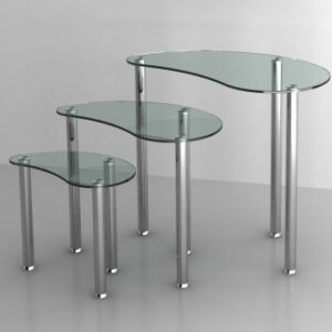 Shirley Clear Glass Nest Of Three Tables Glass Stainless Steel Frame