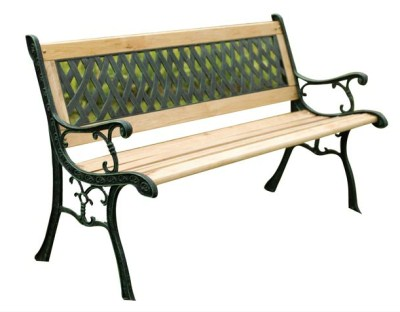 AJ Begel 3 Seater Garden Bench - Wood And Cast Iron