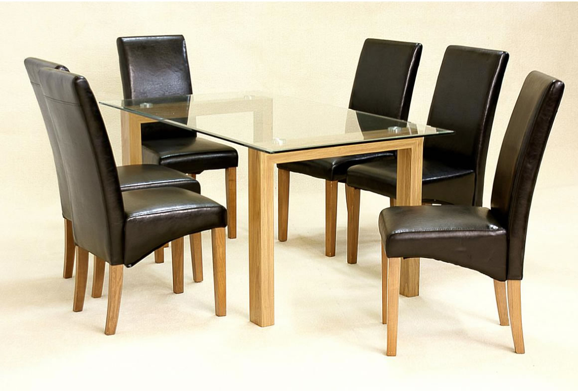 Asrinto Large Oak And Glass Dining Kitchen Table Set And 6 Chairs