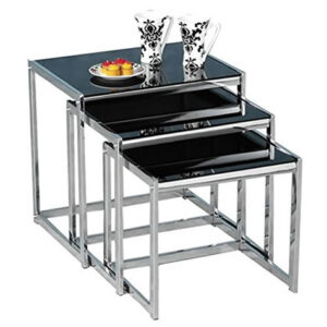 Neva Black Gloss Nest Of 3 Tables With Chrome Frame