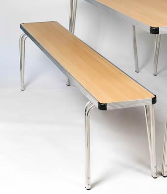 Ceri Oak 4Ft Alumunium Frame Portable Stackable Bench - Various Colours - Small