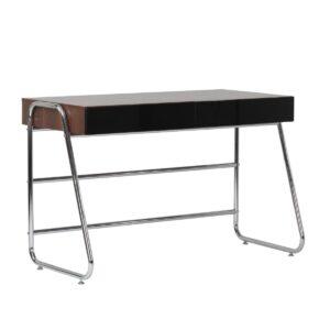 Denize Walnut Effect Home Office Desk High Gloss Drawers