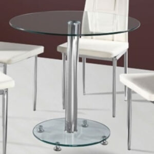 Robin Clear Glass Dining Kitchen Table - Glass Base