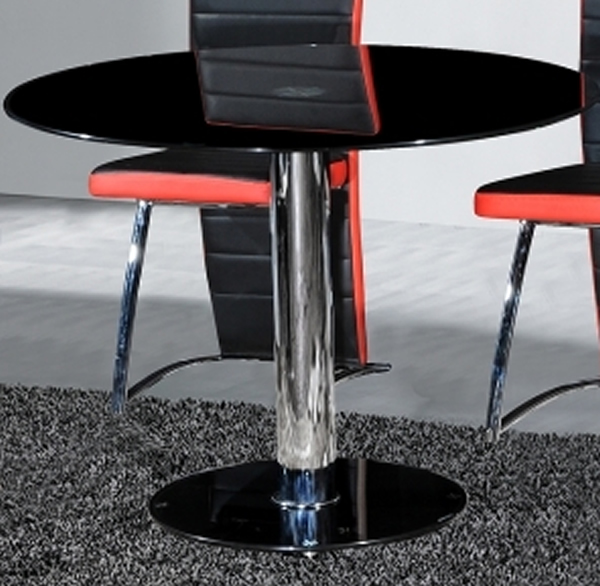 Jove Large Black Glass Dining Kitchen Table 80 Round Top
