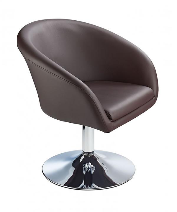 Leisure Tub Bucket Chair Brown Padded Seat Swivel Chrome Frame