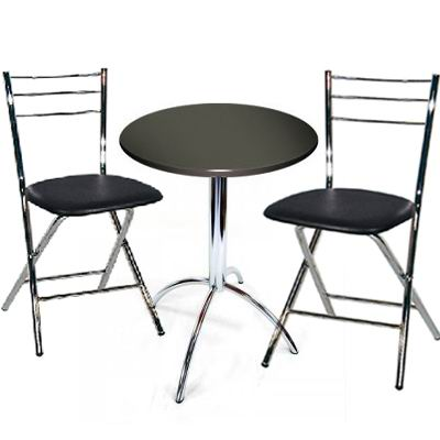 Beruda Small Round Black Kitchen Dining Table Set Chrome Frame With 2 Folding Padded Chairs