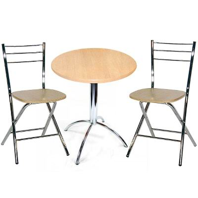Beruda Small Round Beech Kitchen Dining Table Set Chrome Frame With 2 Folding Beech Chairs
