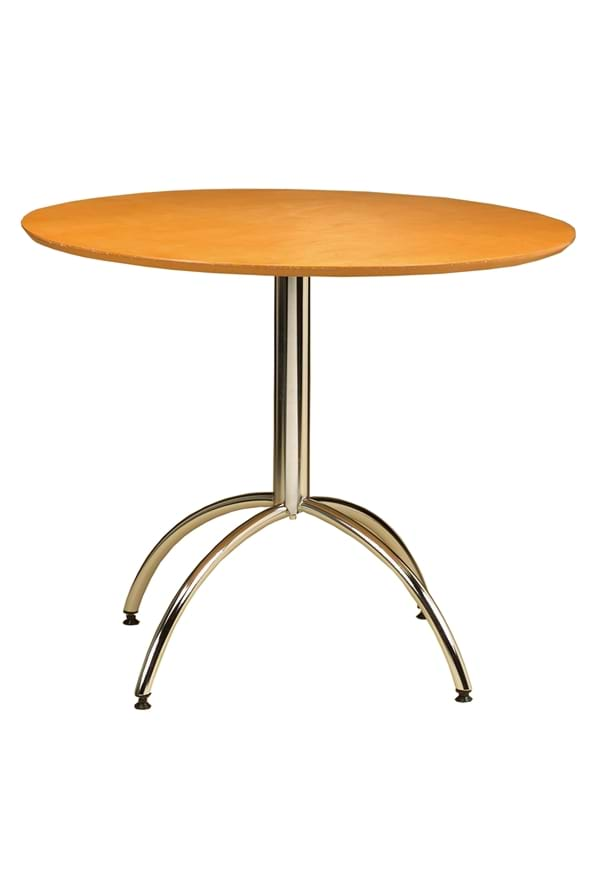 Trexine 90Cm Large Round Chrome Dining Kitchen Table
