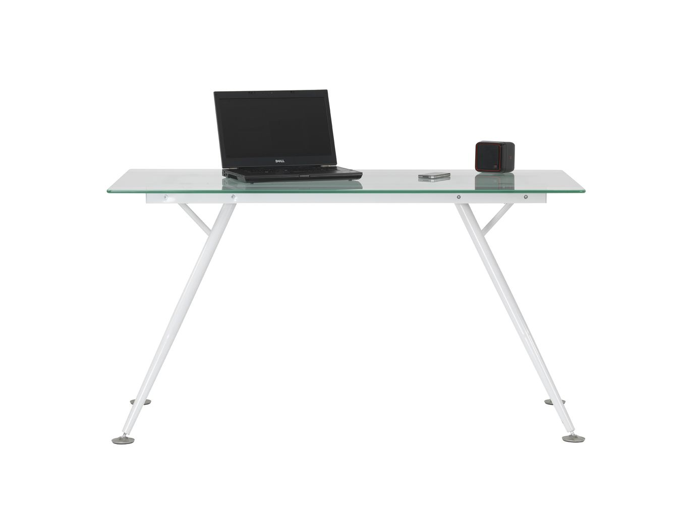 Sarasota Glass Computer Desk White Frame