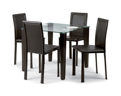 Katya Square Table And Chairs - Glass And Faux Leather