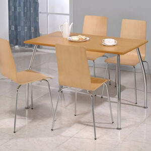 Lingham Wood Dining Set Rectangular Beech And Chrome Dining Table And 4 Chairs