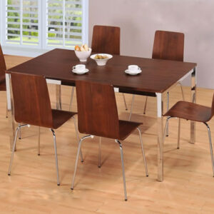 Lingham Rectangular Walnut And Chrome Kitchen Dining Set