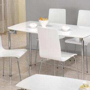 Lingham Rectangular White And Chrome Kitchen Dining Set