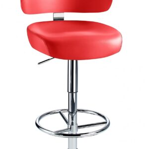 Jamaica Height Adjustable Bar Stool Red Faux Leather Padded Seat